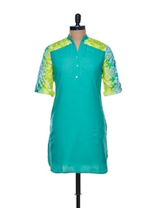 Cotton Green Kurta With A Floral Back And Sleeves - Paislei