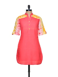 Coral Kurta With Printed Back - Paislei
