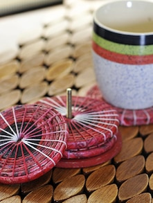 Set Of 4 Rose Pink Coiled Coasters - ExclusiveLane