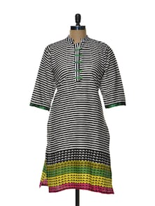 Black And White Striped Kurta - Arya Fashion