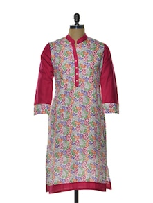 Printed Pink Kurta With Mango Motifs - Arya Fashion