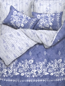 Blue And White Rose Print Bed Linen Set Of 3 - Esprit