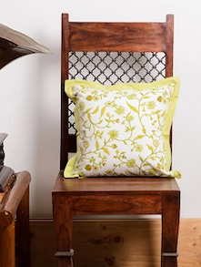 Lime Green Flower Print Cushion Cover Set - Ocean Collections