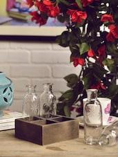 Set Of 4 Glass Bottle Vase With Holder - Color Palette