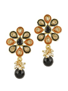 Orange Enamel Flower Shape Earrings - Blissdrizzle