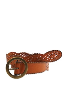 Artistic Cutwork Saddle Brown Waist Belt - Belts By Just Women