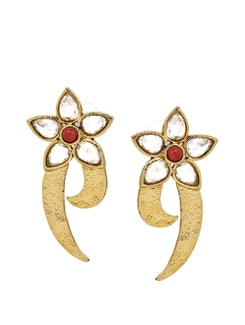 Handcrafted Red And Gold Earrings In German Silver - KSHITIJ