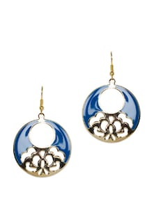 Gold Touch Laser-cut Blue Earrings - Toniq