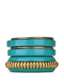 Bold Teal And Gold Bangle Set - Blueberry