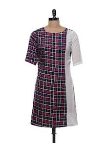 Navy Blue Chequered Dress - Shimaya