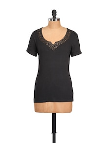Sequinned Black Cotton Knit Top - Myaddiction