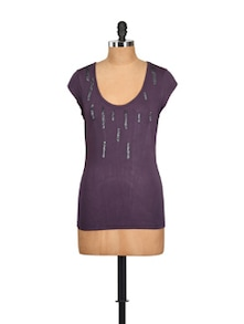 Embellished Purple Round-neck Top - Myaddiction