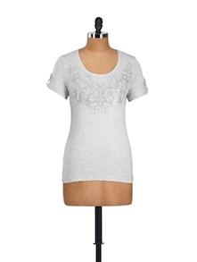 Light Grey Floral Viscose Knit Top - Myaddiction