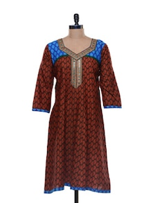 Brick Red Kurta In Printed Cotton - Libas