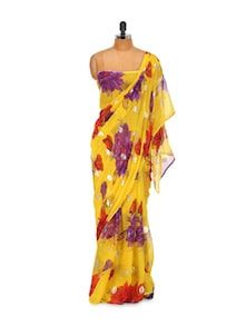 Flowers In The Wilderness Georgette Saree - LIME 79408