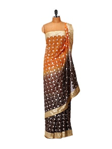 Orange And Black Embellished Saree - LIME