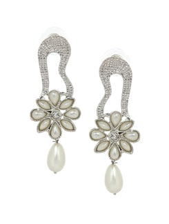 Silver And White Handcrafted Earrings - KSHITIJ