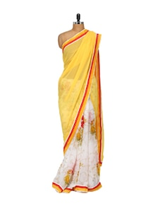 Yellow And White Floral Chiffon Saree - LIME