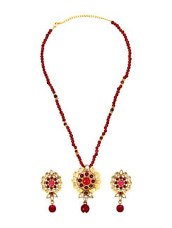 Red And Golden Pendant Set - KSHITIJ