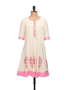 Pink And Off-White Kurta - Morpunc