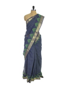 Kota Cotton Silk Blue Saree - Spatika Sarees