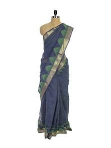 Kota Cotton Silk Blue Saree - Spatika Sarees