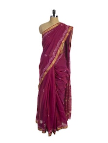 Maroon Chikan Cotton Silk Saree - Spatika Sarees