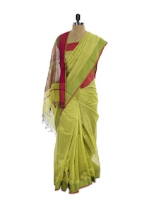 Radiant In Green Cotton Silk Saree - Spatika Sarees