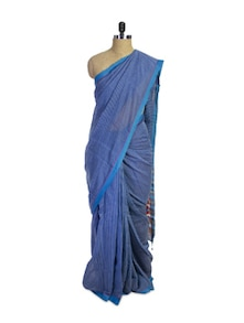 Bengal Cotton Silk Blue Saree - Spatika Sarees