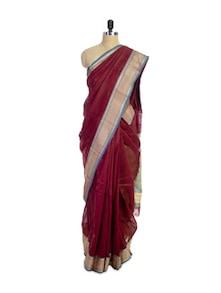 Luxe Maroon Cotton Silk Saree - Spatika Sarees