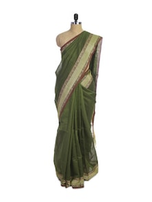 Mehndi Green Cotton Silk Saree - Spatika Sarees