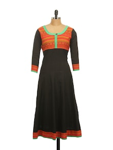 Bravo Black Cotton Anarkali Kurta - Inara Robes