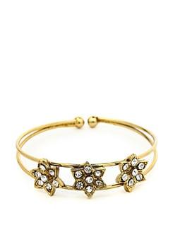 Gold Plated Bangle With Star Diamond Pattern - KSHITIJ