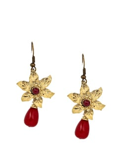Red And Gold Floral Earrings - KSHITIJ