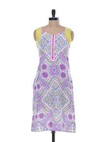 Multicolour Floral Printed Cotton Kurta - Myra