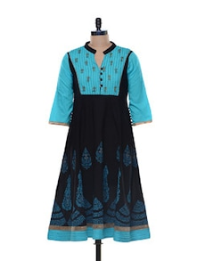 Black and Blue Anarkali Kurta - Myra