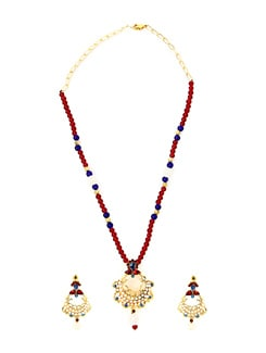 Red And Blue Bead Necklace Set - KSHITIJ