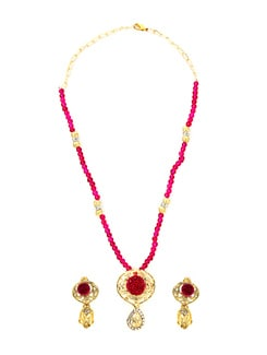 Pink And Gold Pendant Set - KSHITIJ