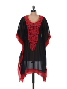 Gorgeous Georgette Black And Red Kaftan - NAVYOU