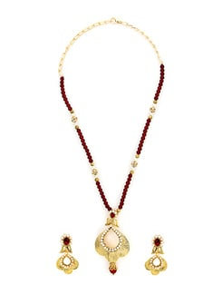 Designer Pearl Studded Golden Necklace Set - KSHITIJ