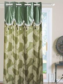 Green Leaf Print Door Curtains - Dekor World