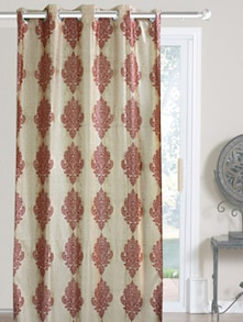 Maroon And White Polyester Curtains - Dekor World