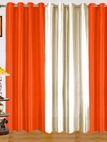 Orange & White Polyester Curtains - Dekor World