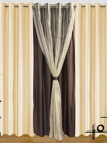 Brown & White Door Curtains - Dekor World