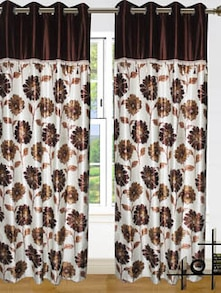 Brown & White Polyester Curtains - Dekor World