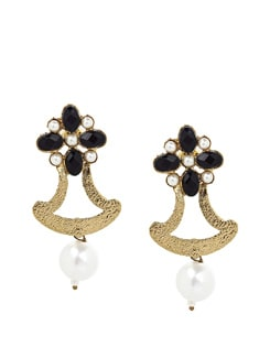 Black Flower And Pearl Drop Earrings - KSHITIJ