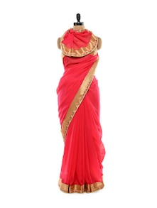Coral And Gold Saree - Get Style At Home