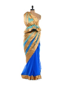 Blue With Gold Stripes Saree - Get Style At Home