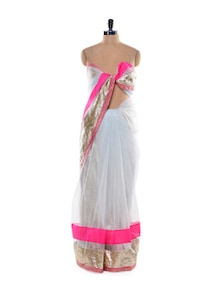 Stunning White And Pink Saree - Get Style At Home