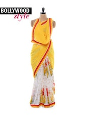 Lovely Yellow and White Saree
